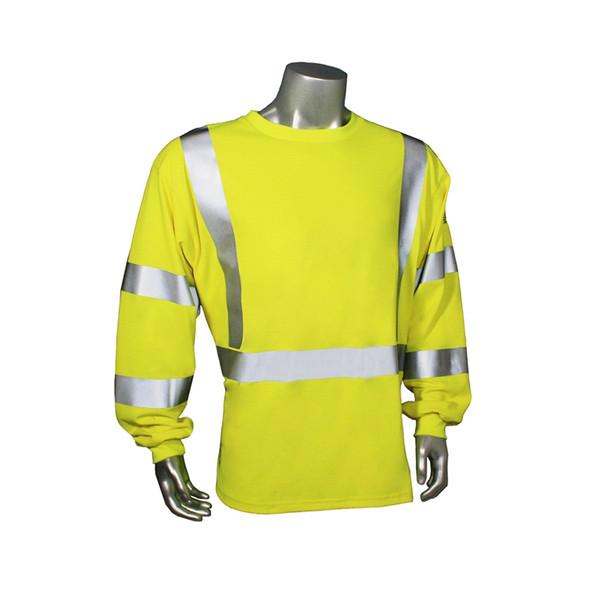 Radians FR Class 3 Hi Vis Green Long Sleeve Shirt LHV-FR-TS-LS-C3 Front