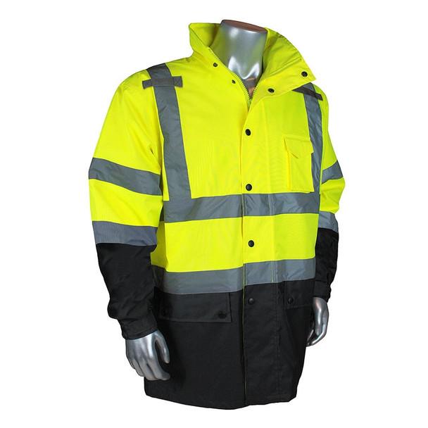 Radians Class 3 Hi Vis Green Black Bottom Rain Jacket RW30-3Z1Y Front