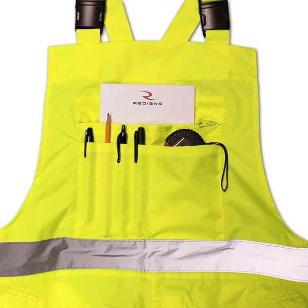 Radians Class E Hi Vis Yellow Black Bottom Bib Rain Pants RW30-ES1Y Pockets
