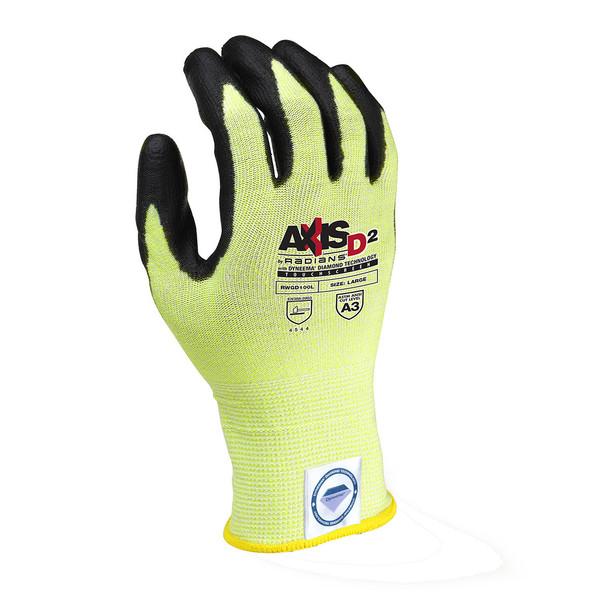 Radians Box of 12 Pair Touchscreen ANSI Cut Level A3 Dyneema Gloves RWGD100 Top