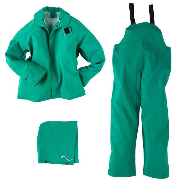 Neese ASTM F903 I96S Green Economy Industrial Chem Splash 3 Piece Rain Suit 10096-55 Suit