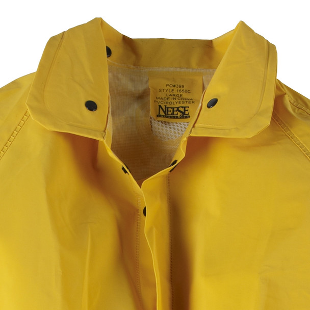 Neese 1650C Non-ANSI Hi Vis Full Length Economy Raincoat with Detachable Hood 10165-31 Collar