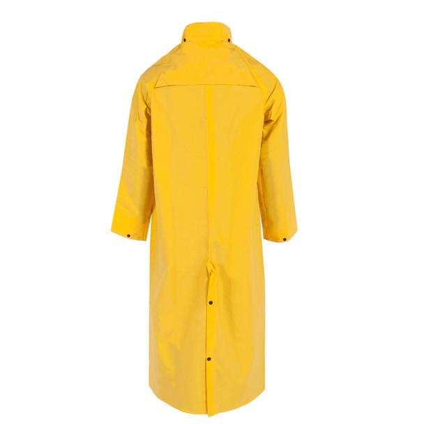 "Neese Non-ANSI Hi Vis Yellow 1790C 60"" Full Length Raincoat with Snap On Hood 10179-31 Back"