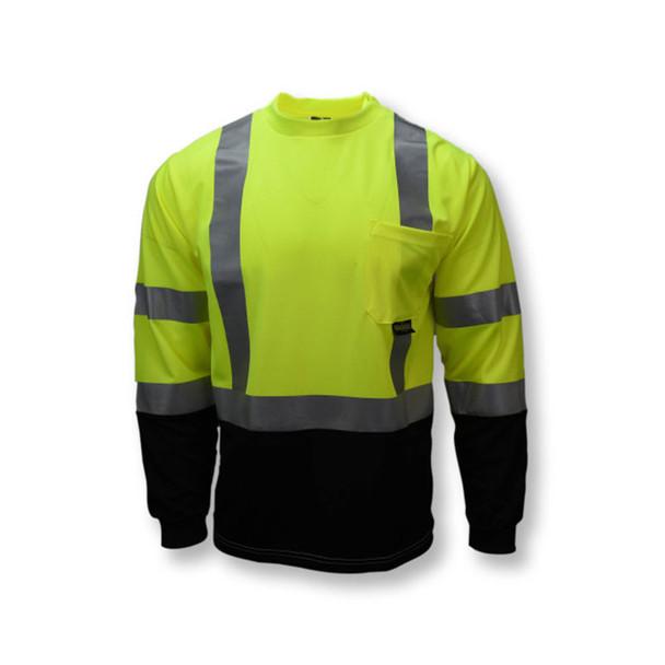Radians Class 3 Hi Vis Green Black Bottom Long Sleeve T-Shirt ST21B-3PGS Front