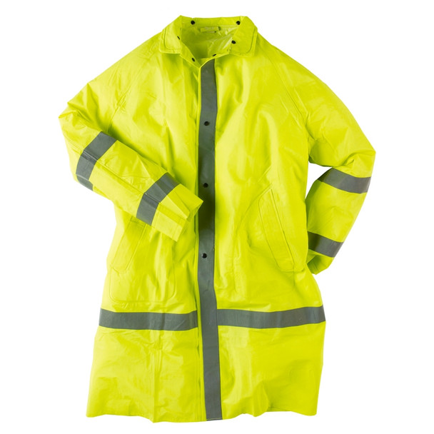Neese Econo-Viz 1870C Non-ANSI Hi Vis Full Length Raincoat with Snap On Hood 10187-31