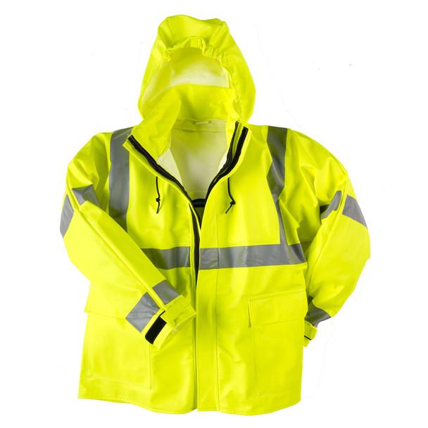 Neese FR Class 3 Hi Vis Yellow 217AJ Flex Arc Hooded Rain Jacket 21217-00