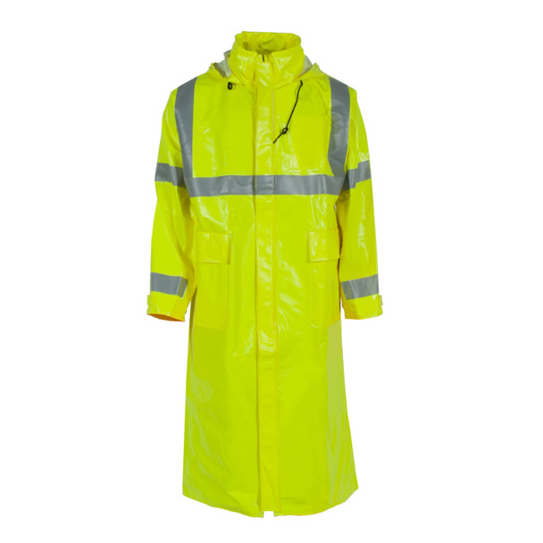 "Neese FR Class 3 Hi Vis Yellow 227AC Dura Arc I 48"" Raincoat 22227-30 Front"