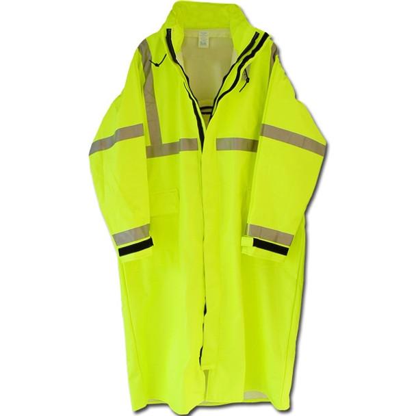 Neese Class 3 Hi Vis Yellow Full Length Raincoat 9100SC Close Up