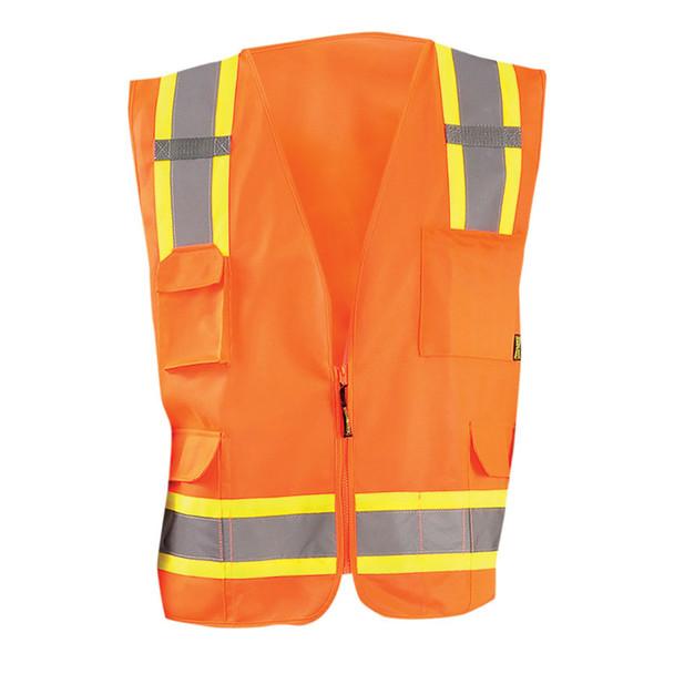Occunomix Class 2 Hi Vis 8 Pocket Surveyor Vest ECO-ATRANS Orange Front