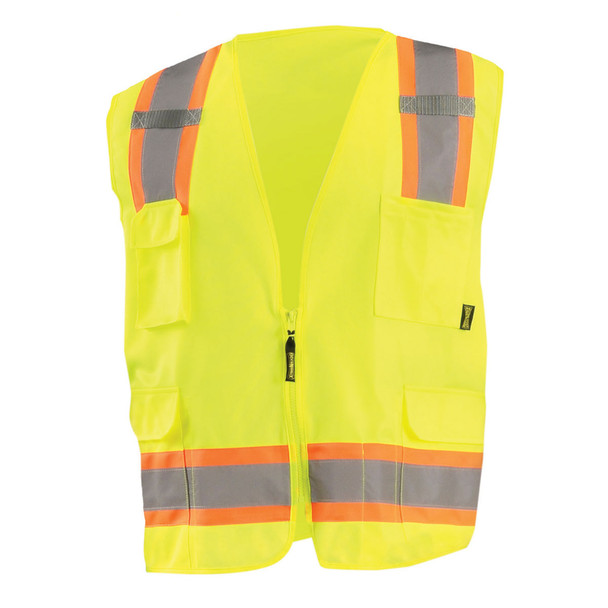 Occunomix Class 2 Hi Vis 8 Pocket Surveyor Vest ECO-ATRANS Yellow Front