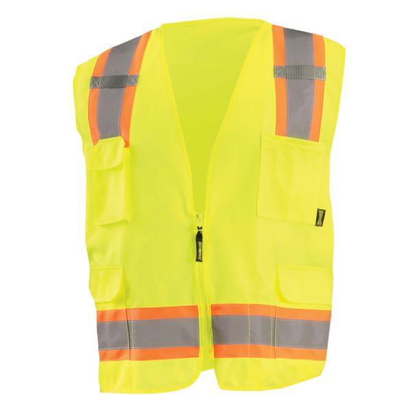 Occunomix Class 2 Hi Vis 8 Pocket Surveyor Vest ECO-ATRANS Yellow Front