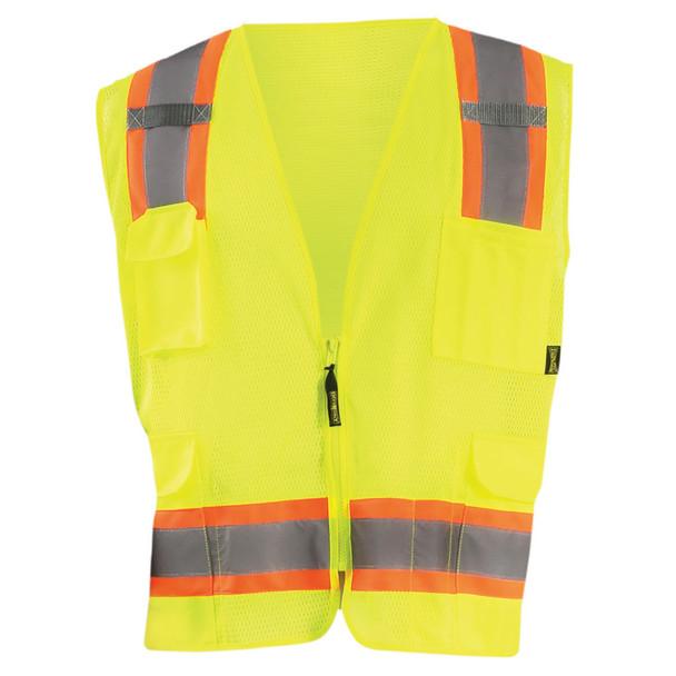 Occunomix Class 2 Hi Vis Two-Tone 10 Pocket Mesh Surveyor Vest ECO-ATRNSM Yellow Front