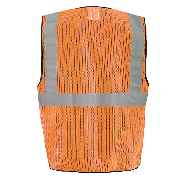 Occunomix Class 2 Hi Vis Economy Mesh Surveyors Vest with 12 Pockets ECO-GCS Orange Back