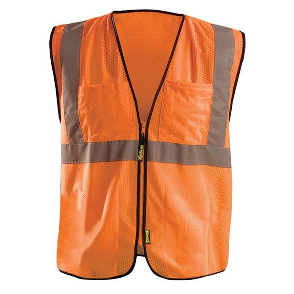 Occunomix Class 2 Hi Vis Economy Mesh Surveyors Vest with 12 Pockets ECO-GCS Orange Front