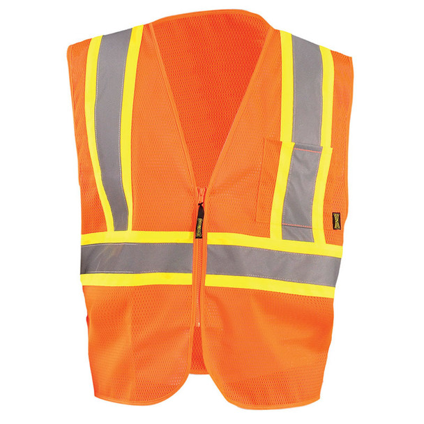 Occunomix Class 2 Hi Vis Mesh Two-Tone Economy Safety Vest ECO-IM2TZ Orange Front
