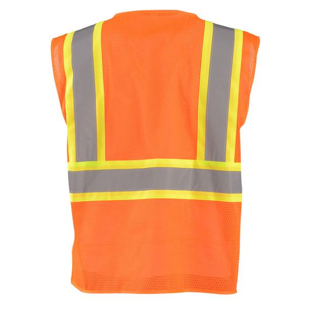 Occunomix Class 2 Hi Vis Mesh Two-Tone Economy Safety Vest ECO-IM2TZ Orange Back