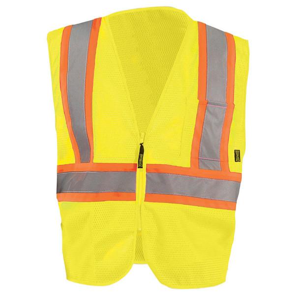 Occunomix Class 2 Hi Vis Mesh Two-Tone Economy Safety Vest ECO-IM2TZ Yellow Front