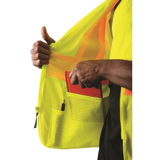 Occunomix Class 3 Hi Vis Economy Two-Tone Mesh Safety Vest ECO-IMZ32T Inside Pocket