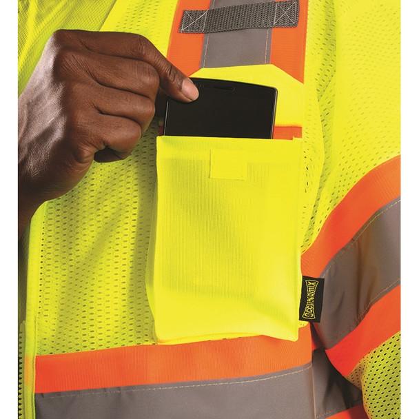 Occunomix Class 3 Hi Vis Economy Two-Tone Mesh Safety Vest ECO-IMZ32T Cellphone Pocket