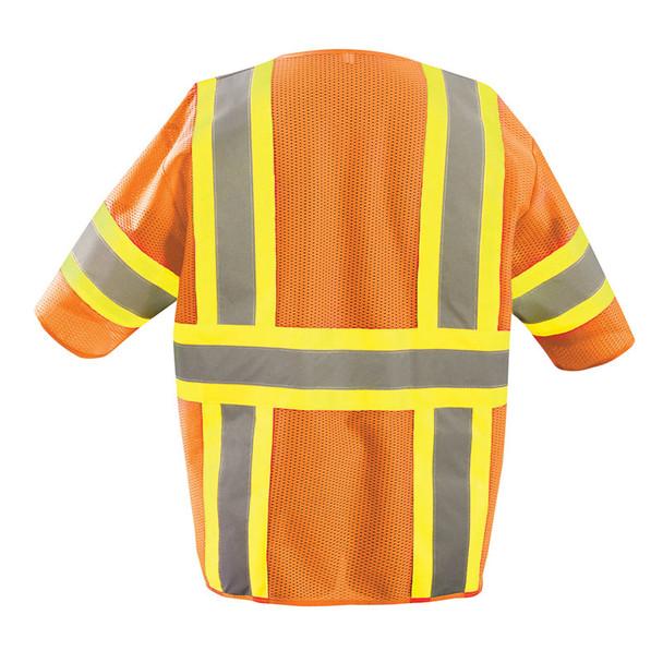 Occunomix Class 3 Hi Vis Economy Two-Tone Mesh Safety Vest ECO-IMZ32T Orange Back