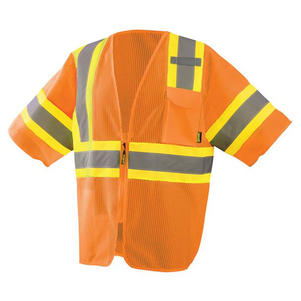 Occunomix Class 3 Hi Vis Economy Two-Tone Mesh Safety Vest ECO-IMZ32T Orange Front