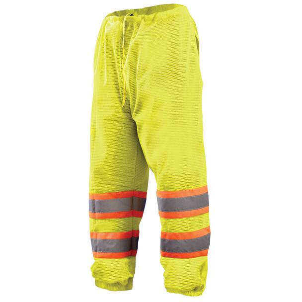 Occunomix Class E Hi Vis Yellow Two-Tone Mesh Pants ECO-TEM2T Front