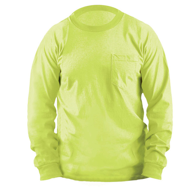 Occunomix Non-ANSI Enhanced Vis Classic Cotton Made in USA Long Sleeve T-Shirt with Pocket LUX-300LP Lime/Yellow Front