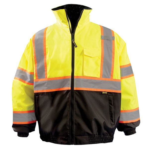 Occunomix Class 3 Hi Vis X Back Black Bottom Bomber Jacket LUX-350-B2X Yellow Front