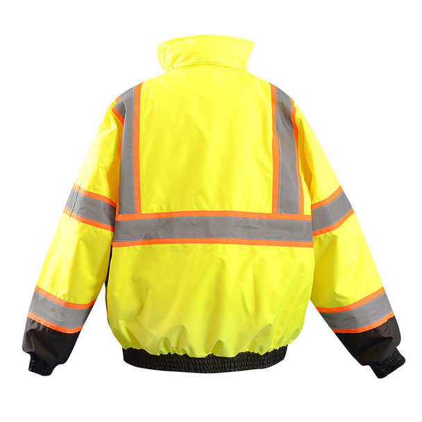 Occunomix Class 3 Hi Vis Yellow Two-Tone Bomber Jacket LUX-350-JB2 Back
