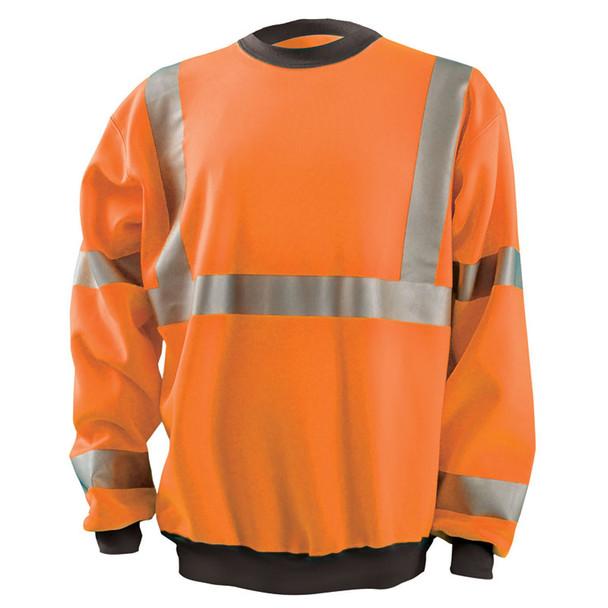 Occunomix Class 3 Hi Vis Crew Sweatshirt with Black Trim LUX-CSWT Orange Front