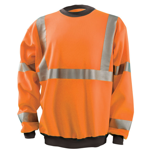 Occunomix Class 3 Hi Vis Crew Sweatshirt with Black Trim LUX-CSWT-O Orange Front