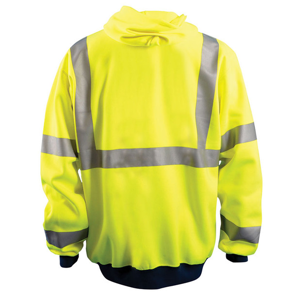 Occunomix Class 3 Hi Vis Full Zip Up Hooded Sweatshirt LUX-HZSWT Yellow Back