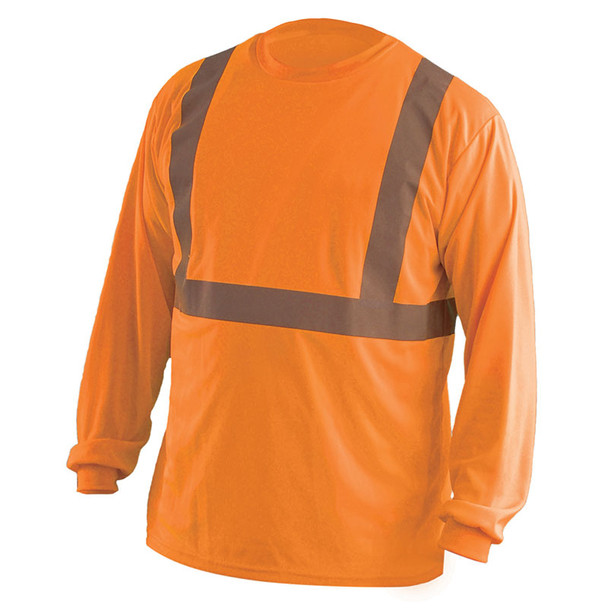 Occunomix Class 2 Hi Vis Moisture Wicking Birdseye Long Sleeve T Shirt LUX-LSET2B Orange Front