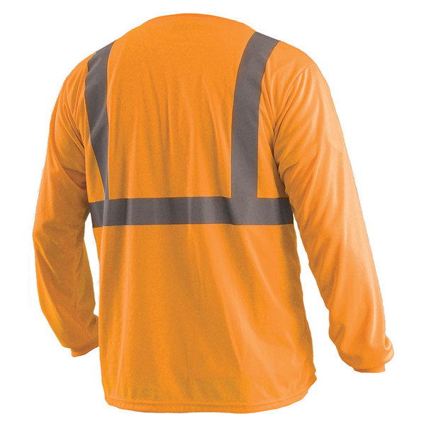Occunomix Class 2 Hi Vis Moisture Wicking Birdseye Long Sleeve T Shirt LUX-LSET2B Orange Back