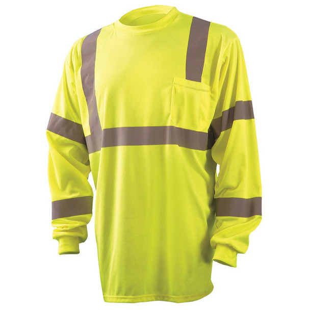 Occunomix Class 3 Hi Vis Moisture Wicking Long Sleeve T-Shirt with Chest Pocket LUX-LSETP3B Yellow Front