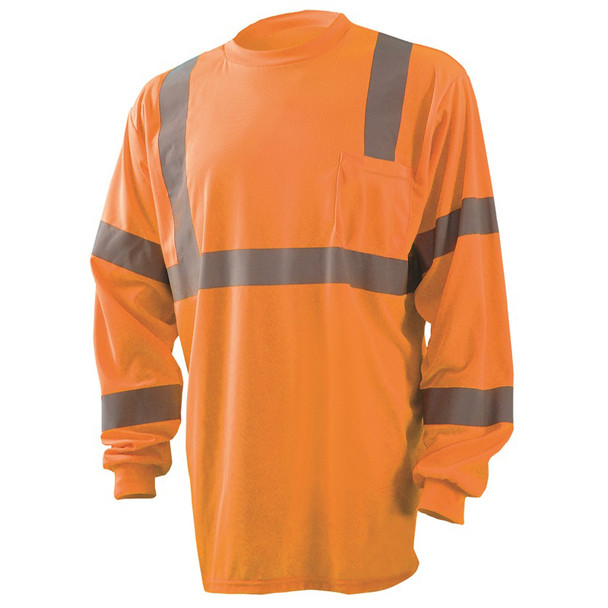 Occunomix Class 3 Hi Vis Moisture Wicking Long Sleeve T-Shirt with Chest Pocket LUX-LSETP3B Orange Front