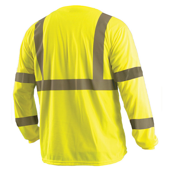 Occunomix Class 3 Hi Vis Moisture Wicking Long Sleeve T-Shirt with Chest Pocket LUX-LSETP3B Yellow Back