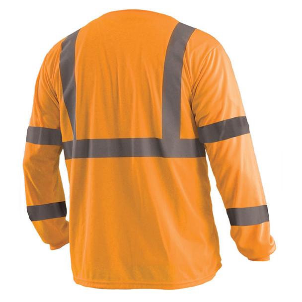 Occunomix Class 3 Hi Vis Moisture Wicking Long Sleeve T-Shirt with Chest Pocket LUX-LSETP3B Orange Back