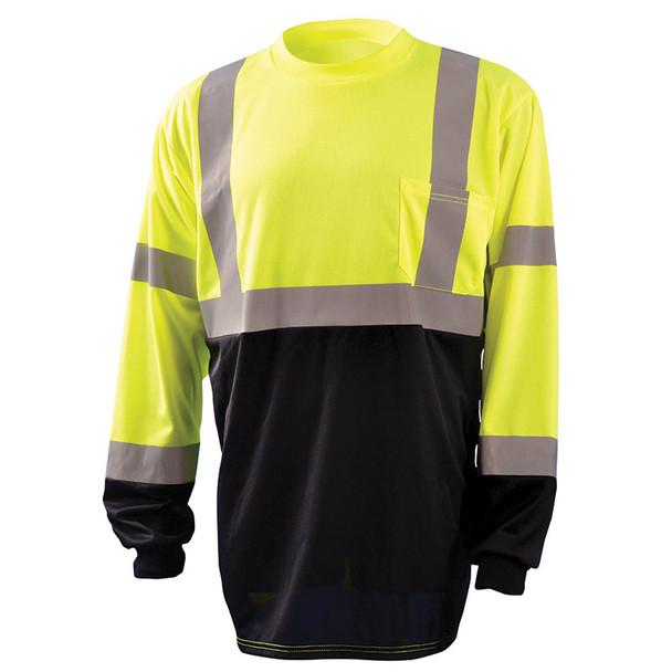 Occunomix Class 3 Hi Vis Black Bottom Moisture Wicking Long Sleeve T-Shirt LUX-LSETPBK Yellow Front