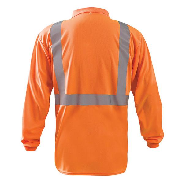 Occunomix Class 2 Hi Vis Moisture Wicking Long Sleeve Polo Shirt LUX-LSPP2B Orange Back