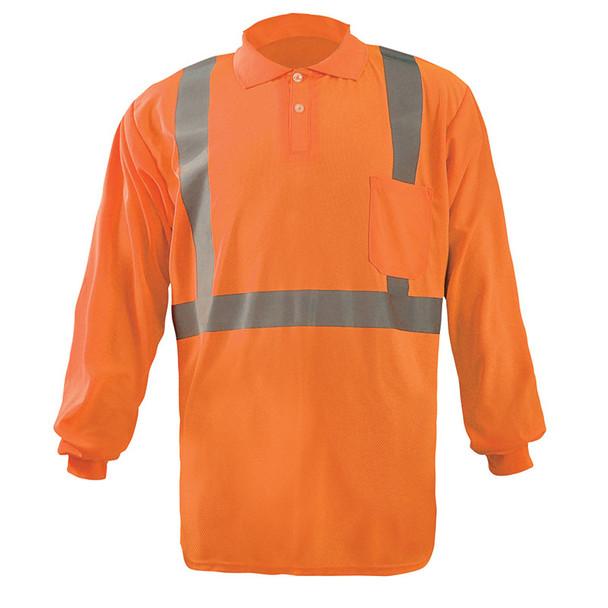 Occunomix Class 2 Hi Vis Moisture Wicking Long Sleeve Polo Shirt LUX-LSPP2B Orange Front