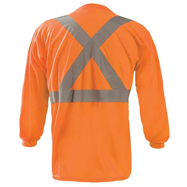 Occunomix Class 2 X-Back Hi Vis Moisture Wicking Long Sleeve T-Shirt LUX-LST2BX Orange Back