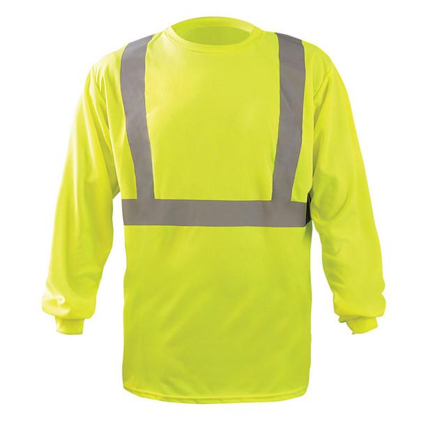 Occunomix Class 2 X-Back Hi Vis Moisture Wicking Long Sleeve T-Shirt LUX-LST2BX Yellow Front