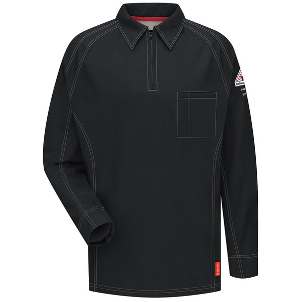 Bulwark FR iQ Series Comfort Knit Long Sleeve Polo QT12 Black Front