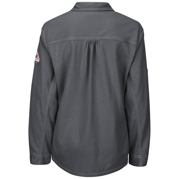 Bulwark FR iQ Series Comfort Knit Womens Long Sleeve Polo QT15 Charcoal Back
