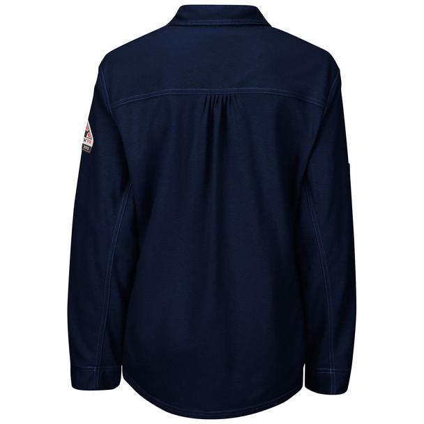 Bulwark FR iQ Series Comfort Knit Womens Long Sleeve Polo QT15 Dark Blue Back