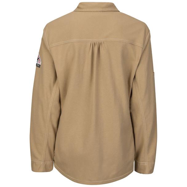 Bulwark FR iQ Series Comfort Knit Womens Long Sleeve Polo QT15 Khaki Back