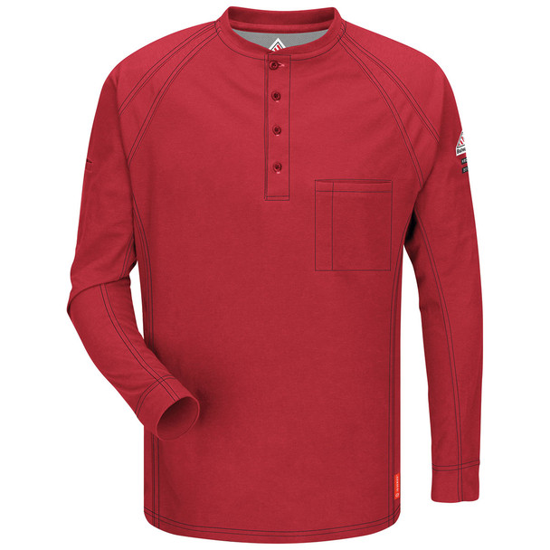 Bulwark FR iQ Series Comfort Long Sleeve Henley QT20 Red Front
