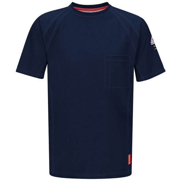 Bulwark FR iQ Series Comfort Knit Short Sleeve T-Shirt QT30 Dark Blue Front