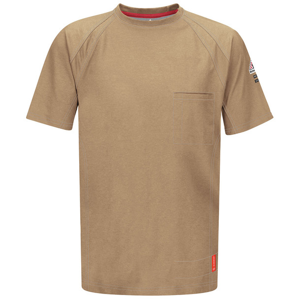 Bulwark FR iQ Series Comfort Knit Short Sleeve T-Shirt QT30 Khaki Front